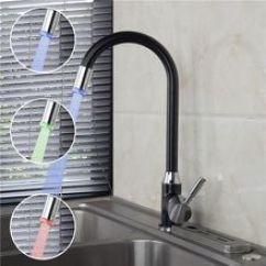 Led Kitchen Faucet Big Lots Appliances Led厨房龙头 Led厨房龙头价格 Led厨房龙头批发 采购 阿里巴巴 全铜led黑喷漆龙头单把单孔厨房水槽洗菜盆冷