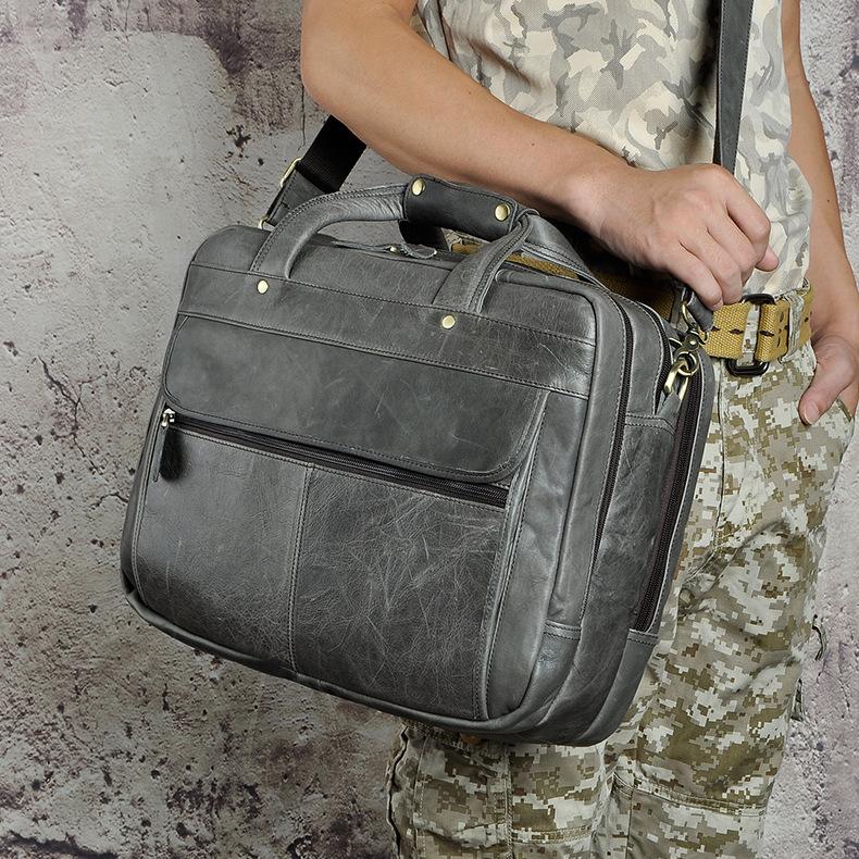 5296527064 2068518898 Men Oil Waxy Leather Antique Design Business Briefcase Laptop Document Case Fashion Attache Messenger Bag Tote Portfolio 7146