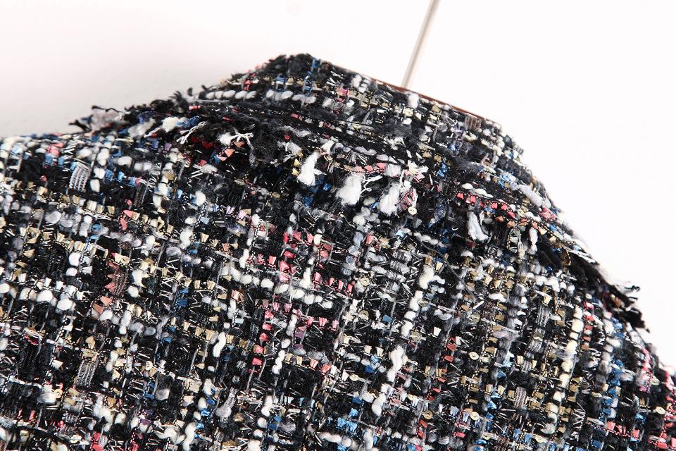 4556872636 1832055227 Fresh style Spring/Autumn female casual jacket coat hand-tassel loose coat checkered Tweed coat jacket lapel thick jacket