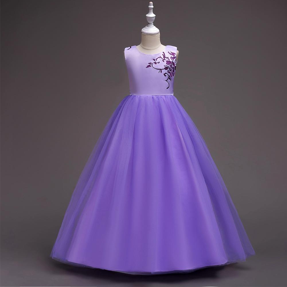 2018 niñas Regalo de Cumpleaños flor bordada vestido de fiesta ...