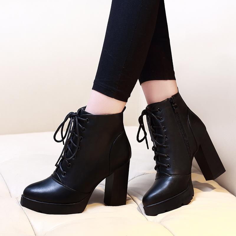 高跟短靴_秋冬新款短筒靴粗跟高跟短靴系帶馬丁靴及裸靴 - 阿里巴巴