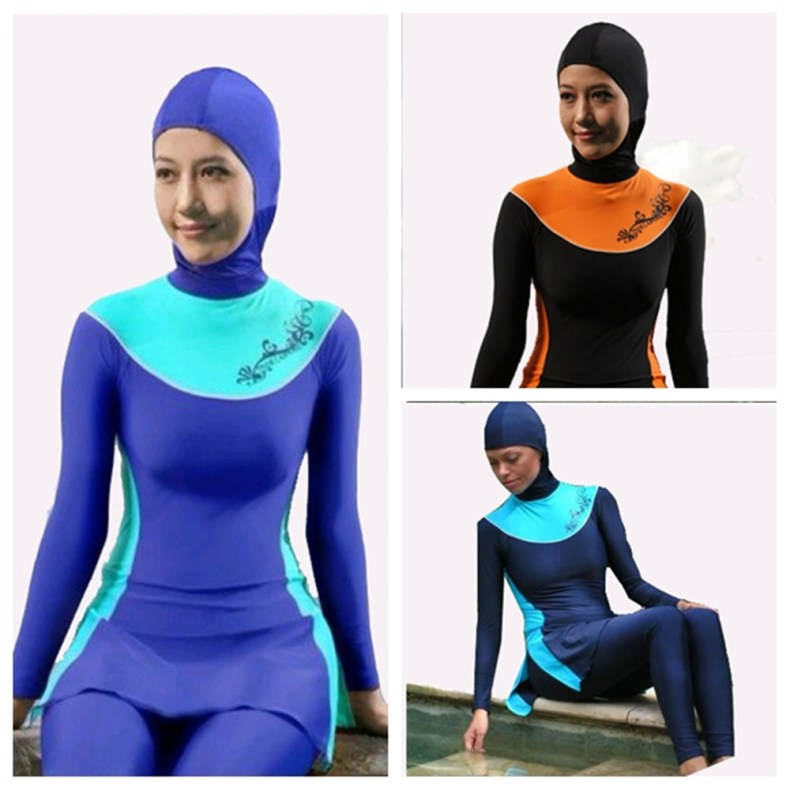 Muslim Swimwear Plus Size Female Bathing Suit Muslim Swimming Beachwear for Women Printing Islamic Swimsuit Full Cover