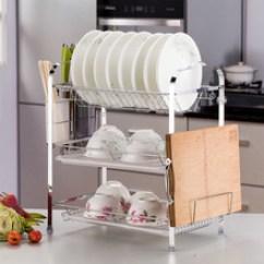 Triple Kitchen Sink Mobile Island 厨房水槽不锈钢沥水盘 厨房水槽不锈钢沥水盘价格 淘宝天猫热销厨房水槽 一件代发碗碟架沥水架三层厨房落地式收纳架