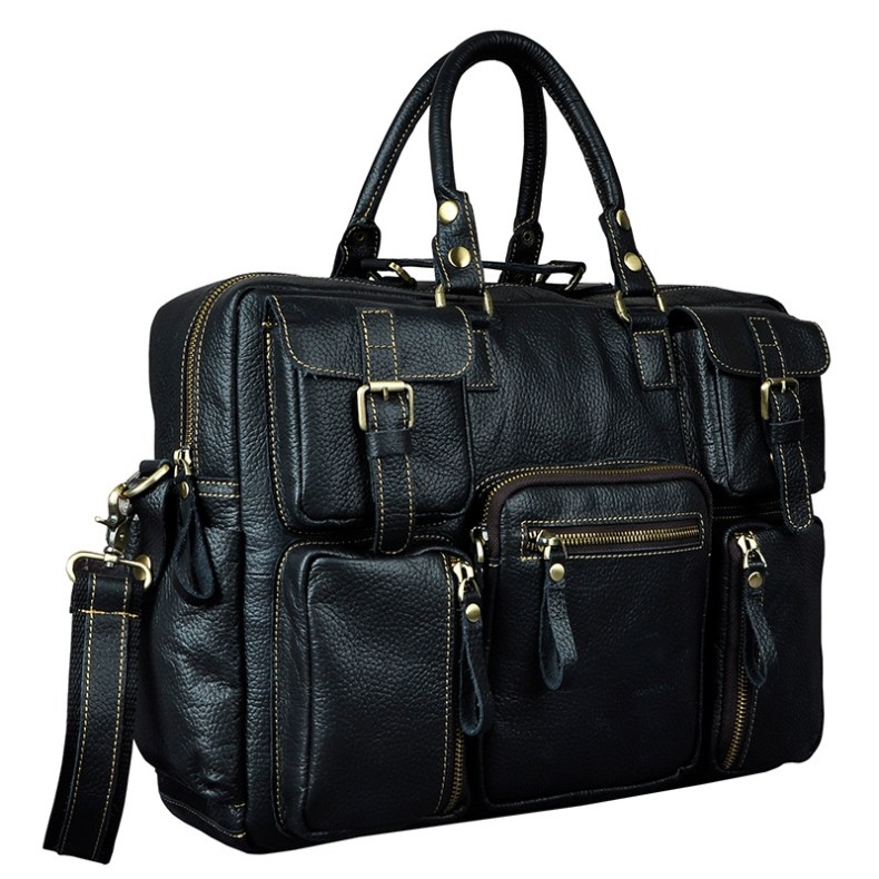 7001596429 2068518898 Original leather Men Fashion Handbag Business Briefcase Commercia Document Laptop Case Design Male Attache Portfolio Bag 3061-bu