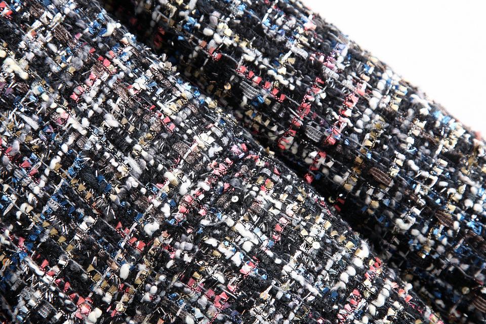 4560528729 1832055227 Fresh style Spring/Autumn female casual jacket coat hand-tassel loose coat checkered Tweed coat jacket lapel thick jacket