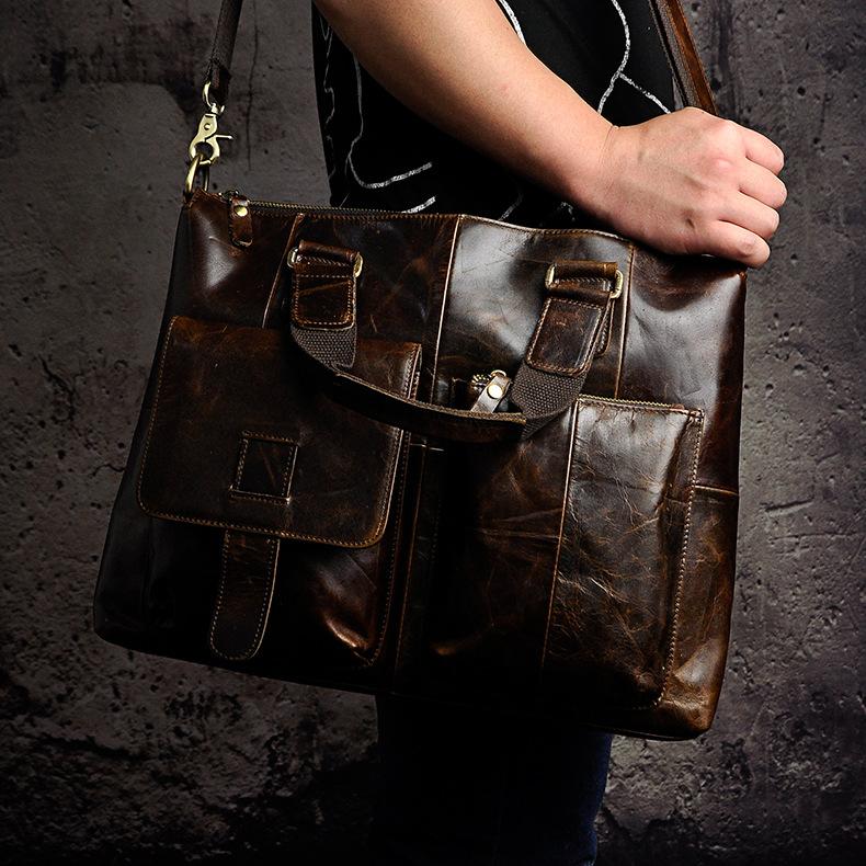 "4654494279 2068518898 Men Genuine Leather Office Maletas Business Briefcase 15.6"" Laptop Case Attache Portfolio Bag Maletin Messenger Bag B260"