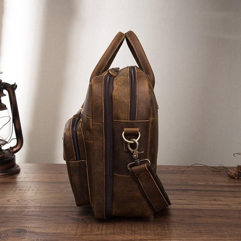 9683755820 2068518898 Men Oil Waxy Leather Antique Design Business Travel Briefcase Laptop Bag Fashion Attache Messenger Bag Tote Portfolio Male k1013