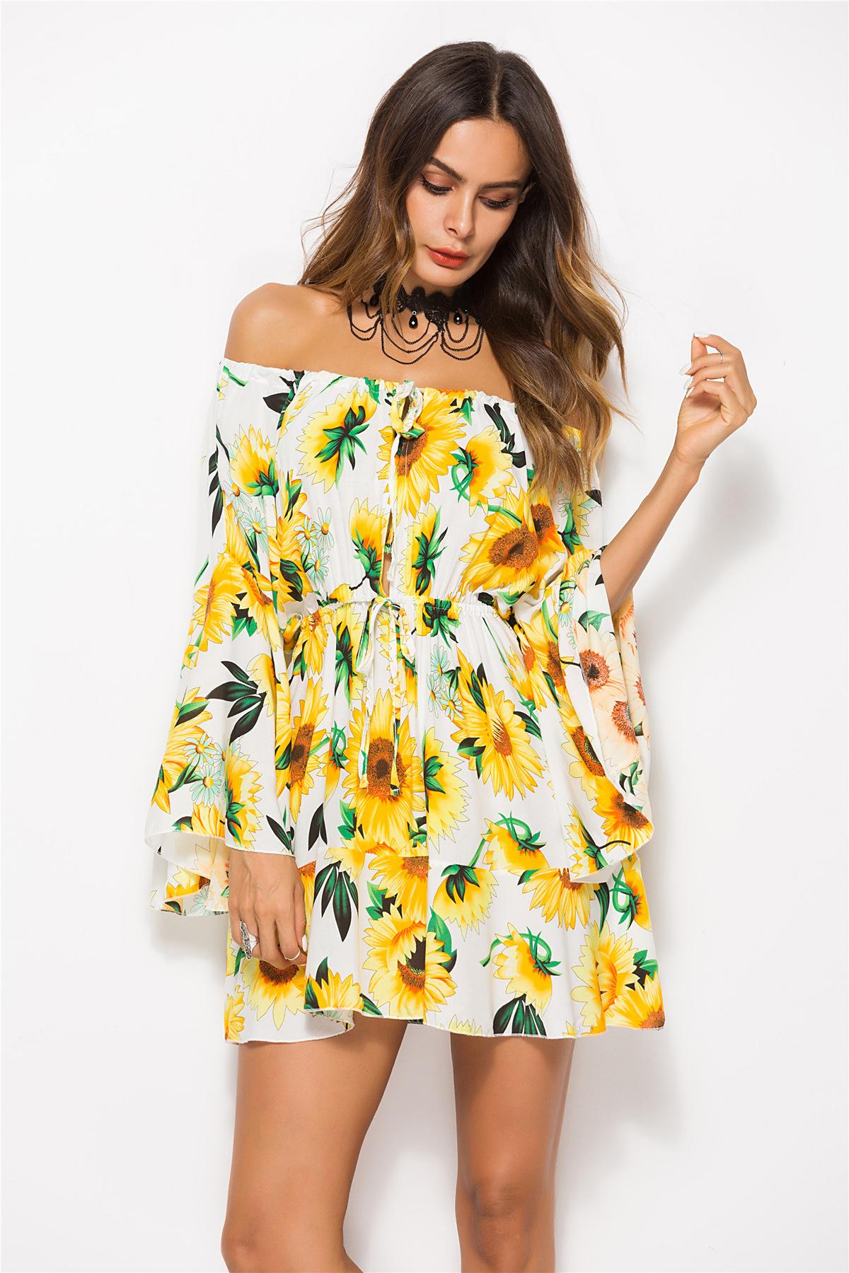 Women Summer Bohemian Beach Dress New Tropical Leaf Floral
