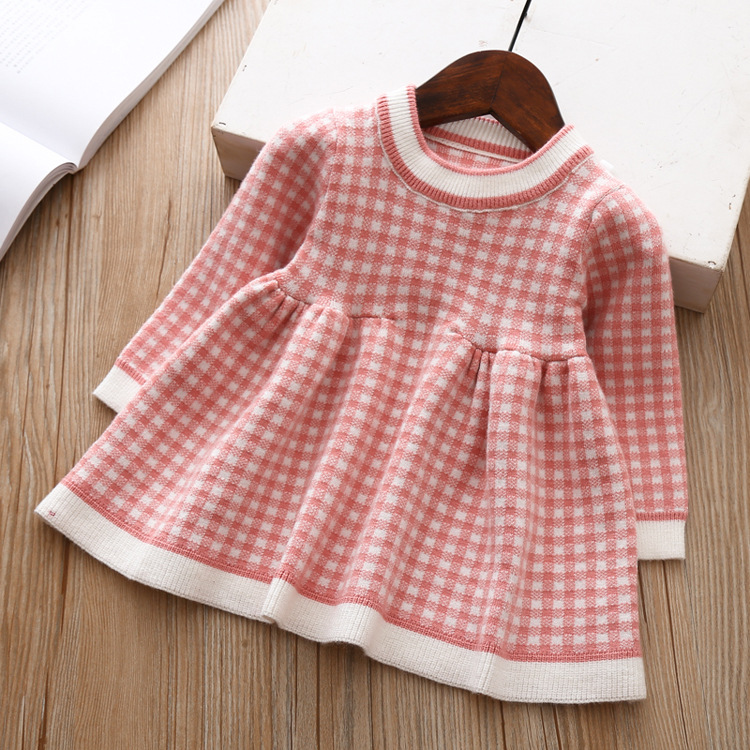 9077965990 2069268434 Girls Knitted Dress 2019 autumn winter Clothes Lattice Kids Toddler baby dress for girl princess Cotton warm Christmas Dresses