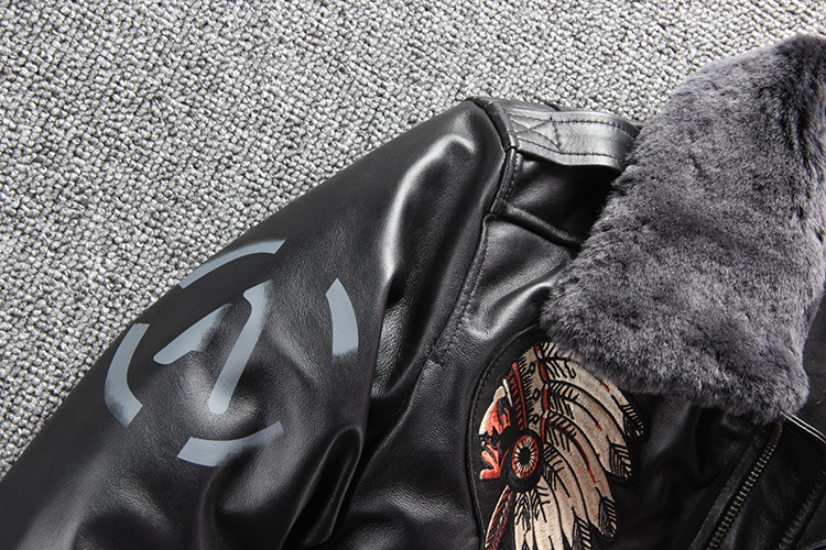 10132352151 617227679 2019 New Men Embroidery Indian Skull Air force flight A1 Pilot Sheepskin Jacket Casual Wool collar Real leather jacket S-XXXL