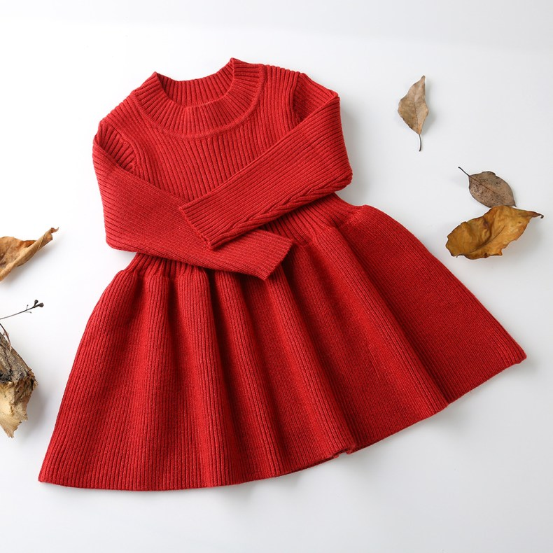 9319187261 303410146 Girls Knitted Dress 2019 autumn winter Clothes Lattice Kids Toddler baby dress for girl princess Cotton warm Christmas Dresses