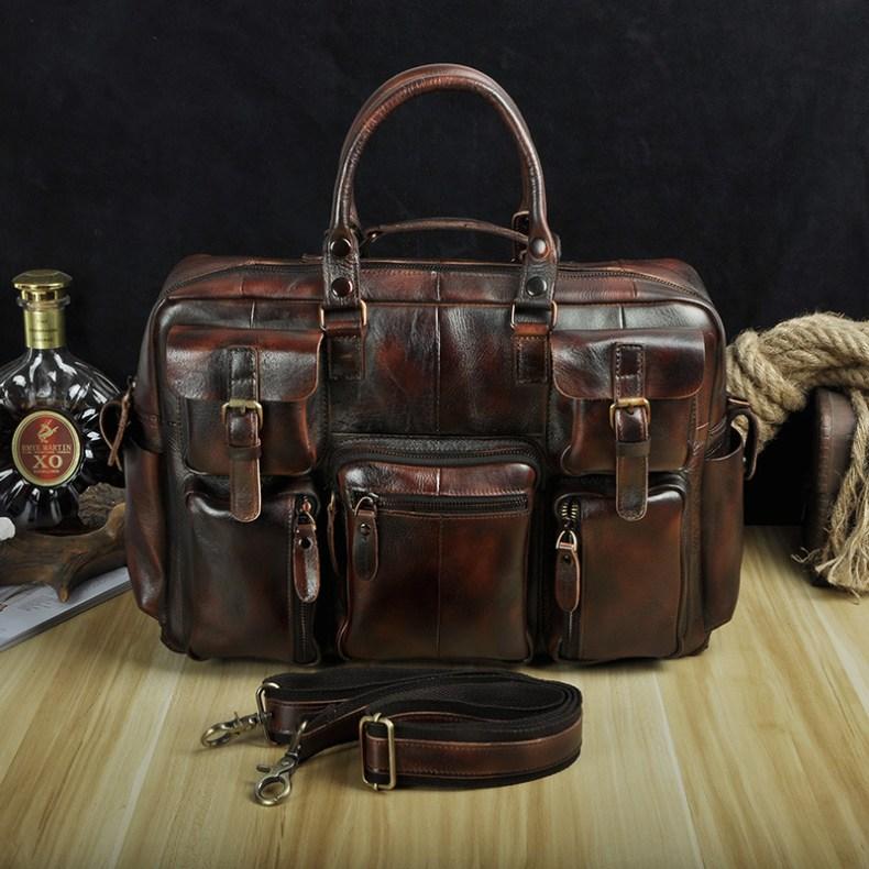"""9582296992 2068518898 Men Real Leather Antique Large Capacity Travel Briefcase Business 15.6"""" Laptop Case Attache Messenger Bag Portfolio 3061-b"""