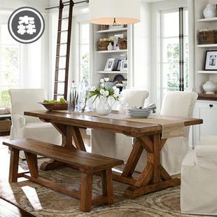 bench for kitchen table ceiling ideas 美式长凳图片 海量高清美式长凳图片大全 阿里巴巴 美式全实木餐桌复古做旧餐桌椅组合咖啡厅餐厅桌子长
