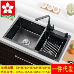 Black Sink Kitchen Portable Counter 不锈钢洗菜盆 纳米黑色水槽双槽厨房手工洗碗盆不锈钢台上洗碗池 阿里巴巴 纳米黑色水槽双槽厨房手工洗碗盆加深加厚不锈钢台上