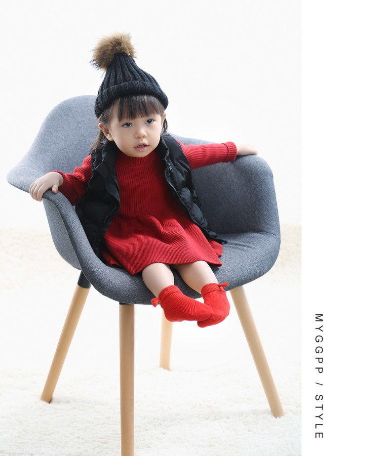 9276000745 303410146 Girls Knitted Dress 2019 autumn winter Clothes Lattice Kids Toddler baby dress for girl princess Cotton warm Christmas Dresses