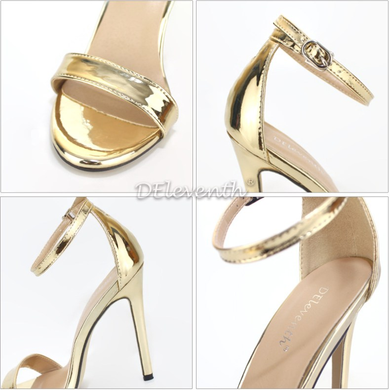 9072686275 855635146 LTARTA Shoes women's Shoes Sandals With Buckle High Heels Gold And Silver Wedding Shoes Large Size 43 ZL-300-7