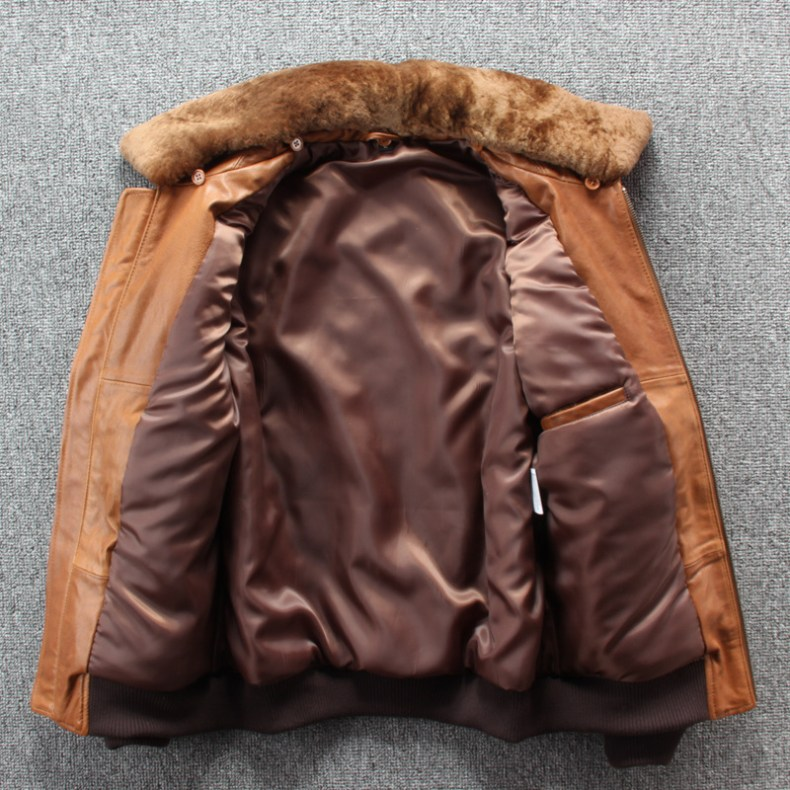 10181120696 617227679 2019 New Men Embroidery Indian Skull Air force flight A1 Pilot Sheepskin Jacket Casual Wool collar Real leather jacket S-XXXL