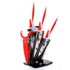 Red Kitchen Knife Set Door Knobs And Pulls 红色菜刀 红色菜刀批发 促销价格 产地货源 阿里巴巴 特价红色时尚水果印花刀具套装不锈钢五件套厨房菜刀套装厨师刀