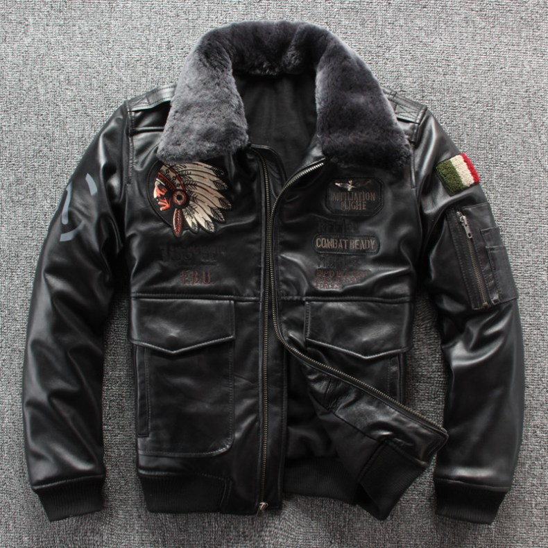 10132007707 617227679 2019 New Men Embroidery Indian Skull Air force flight A1 Pilot Sheepskin Jacket Casual Wool collar Real leather jacket S-XXXL