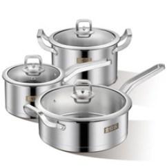 Kitchen Pot Sets Knife Magnet 厨房锅具 厨房锅具价格 优质厨房锅具批发 采购 阿里巴巴 金伯乐高档不锈钢锅具三件套汤锅炒锅厨房用品特厚