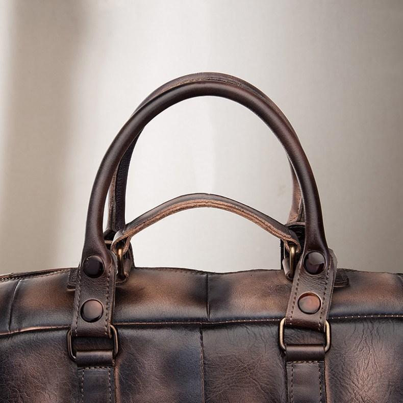 """9705740569 2068518898 Men Real Leather Antique Large Capacity Travel Briefcase Business 15.6"""" Laptop Case Attache Messenger Bag Portfolio 3061-b"""