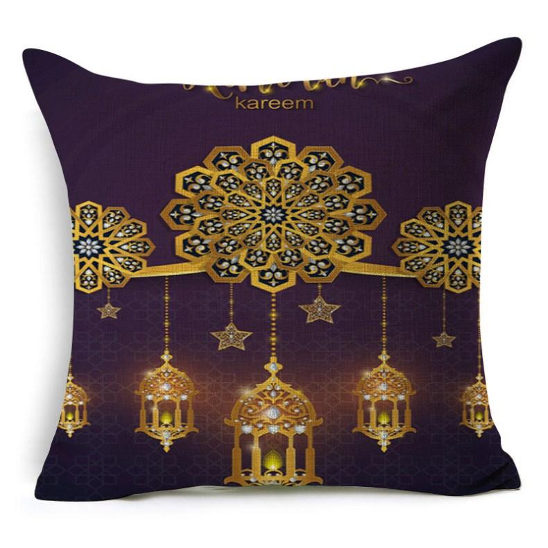 Ramadan Islamic Eid Mubarak For Home Decorations Pillow Case Decor Sofa Cotton Muslim Mosque Decorative Cushion Cover 45X45CM