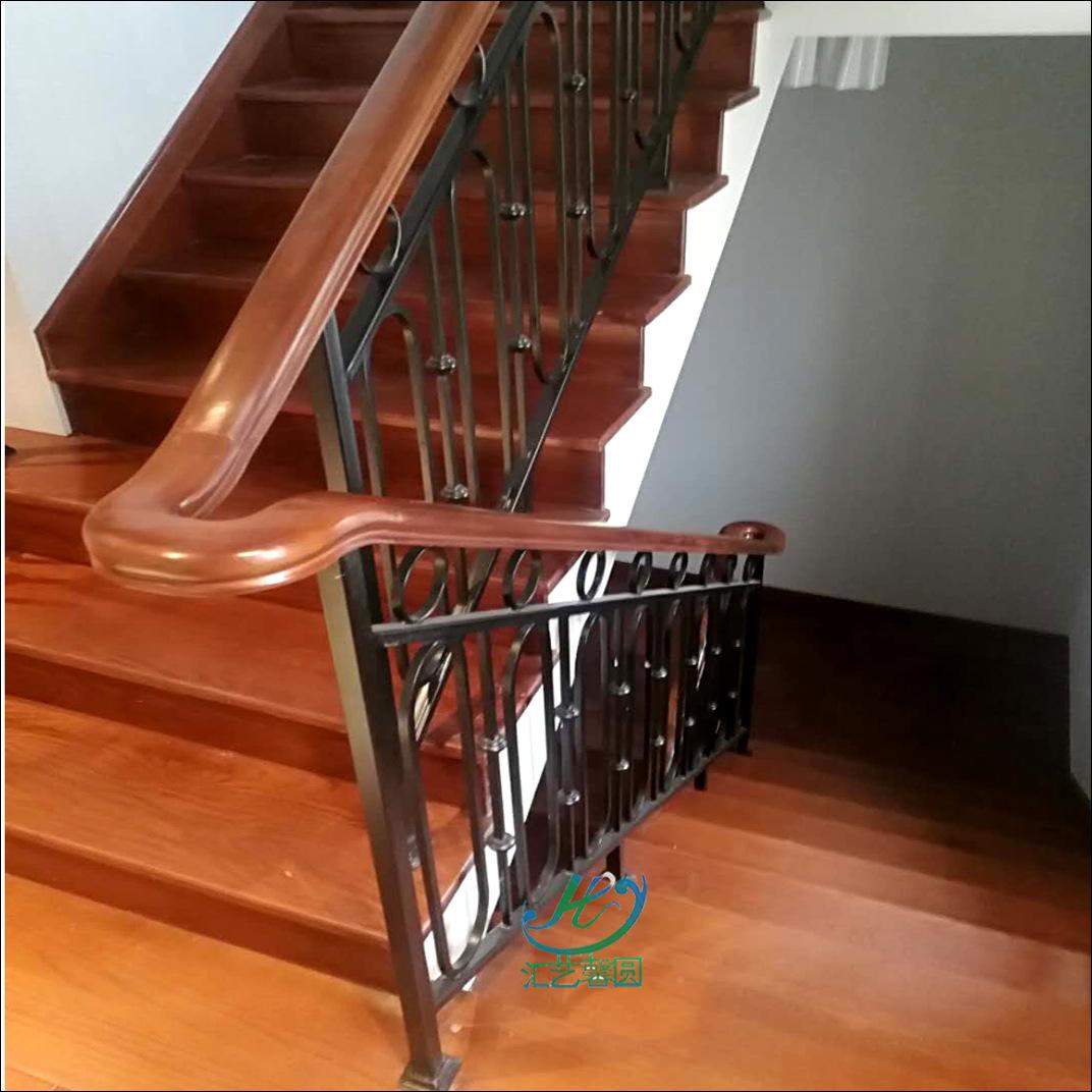 鐵藝樓梯直線式護欄 耐用鍛造別墅鐵木扶手 定制設計旋轉樓梯扶手-阿里巴巴