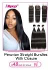 11928407696 580495426 Alipop Hair Straight Hair Bundles With Closure Peruvian Hair 3 Bundles With Closure Remy 100% Human Hair Bundles With Closure