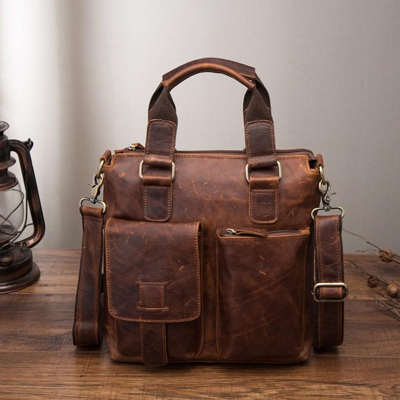 """10466931319 2068518898 Men Original Leather Retro Designer Business Briefcase Casual 12"""" Laptop Travel Bag Tote Attache Messenger Bag Portfolio B259"""