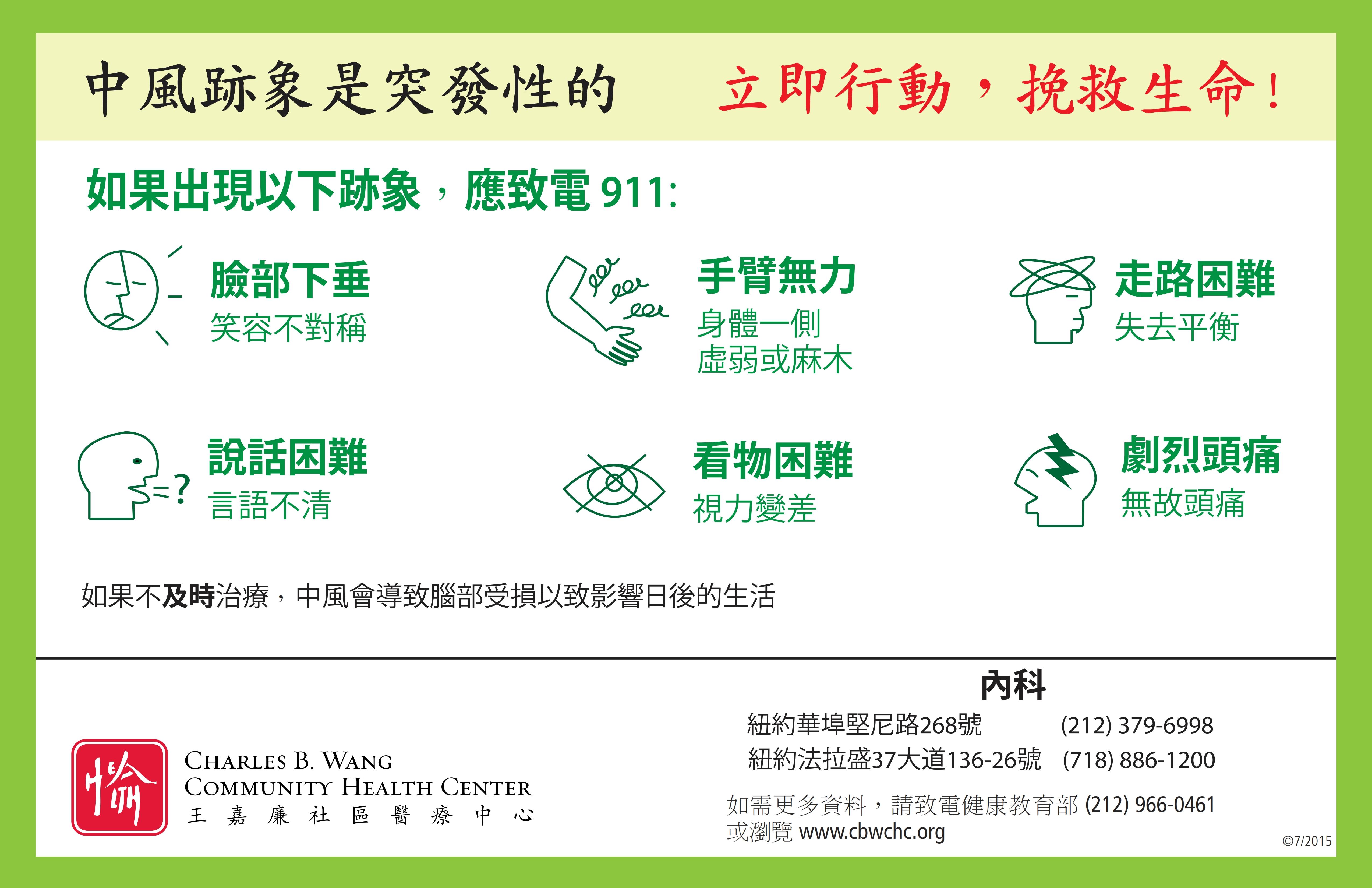 認識中風的跡象及如何預防中風 – 王嘉廉社區醫療中心博客