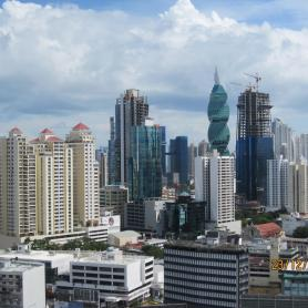 View on Panama City's bank district with the interesting Revolving Tower