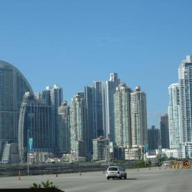 Facing Panama City when arriving from the airport: unta Pacifica, Panama's most exclusif residential area.