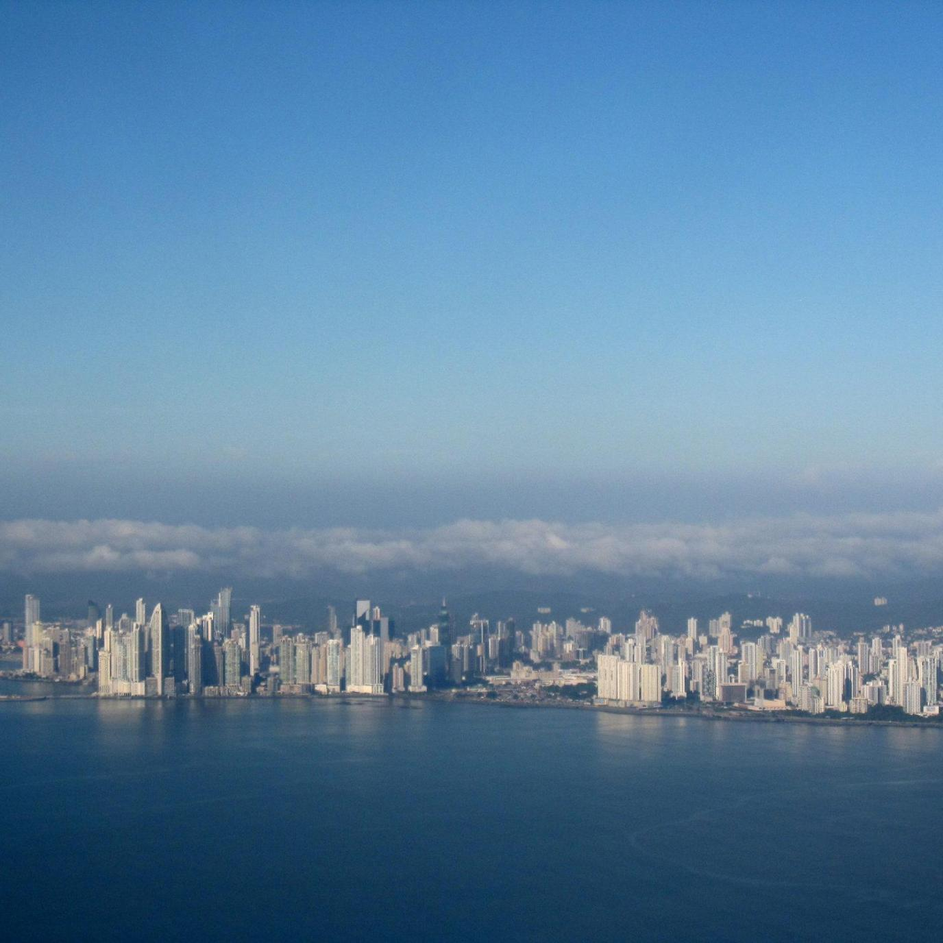 View on Panama City from the airplane