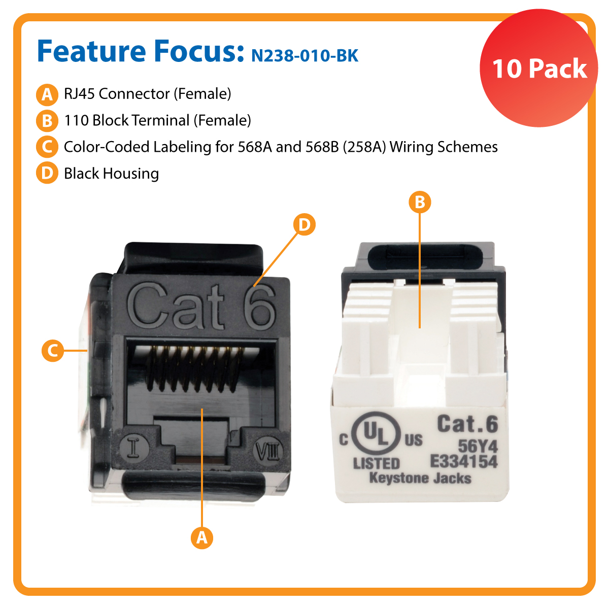 hight resolution of cat6 cat5e 110 style punch down keystone jacks black 10 pack