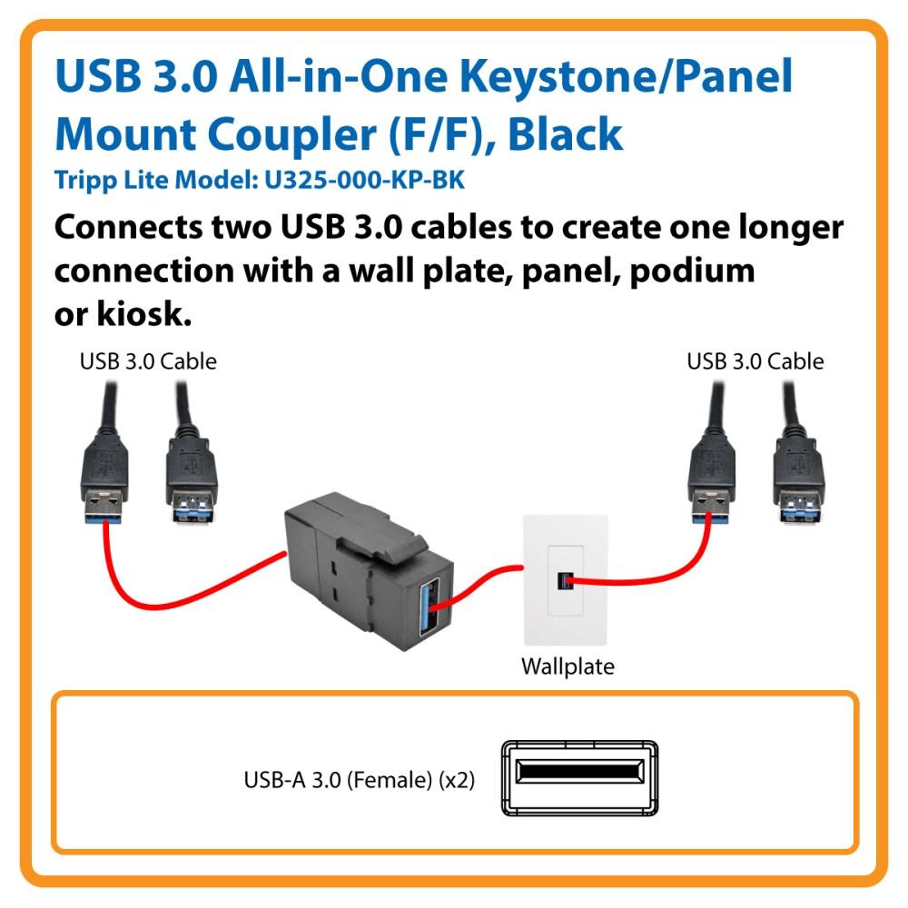 medium resolution of usb 3 0 all in one keystone panel mount coupler f f