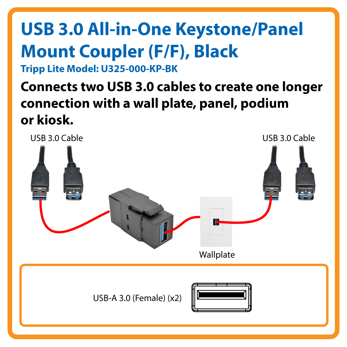 hight resolution of usb 3 0 all in one keystone panel mount coupler f f