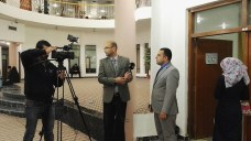 لقاء اعلام جامعة كربلاء مع الاستا حيدر