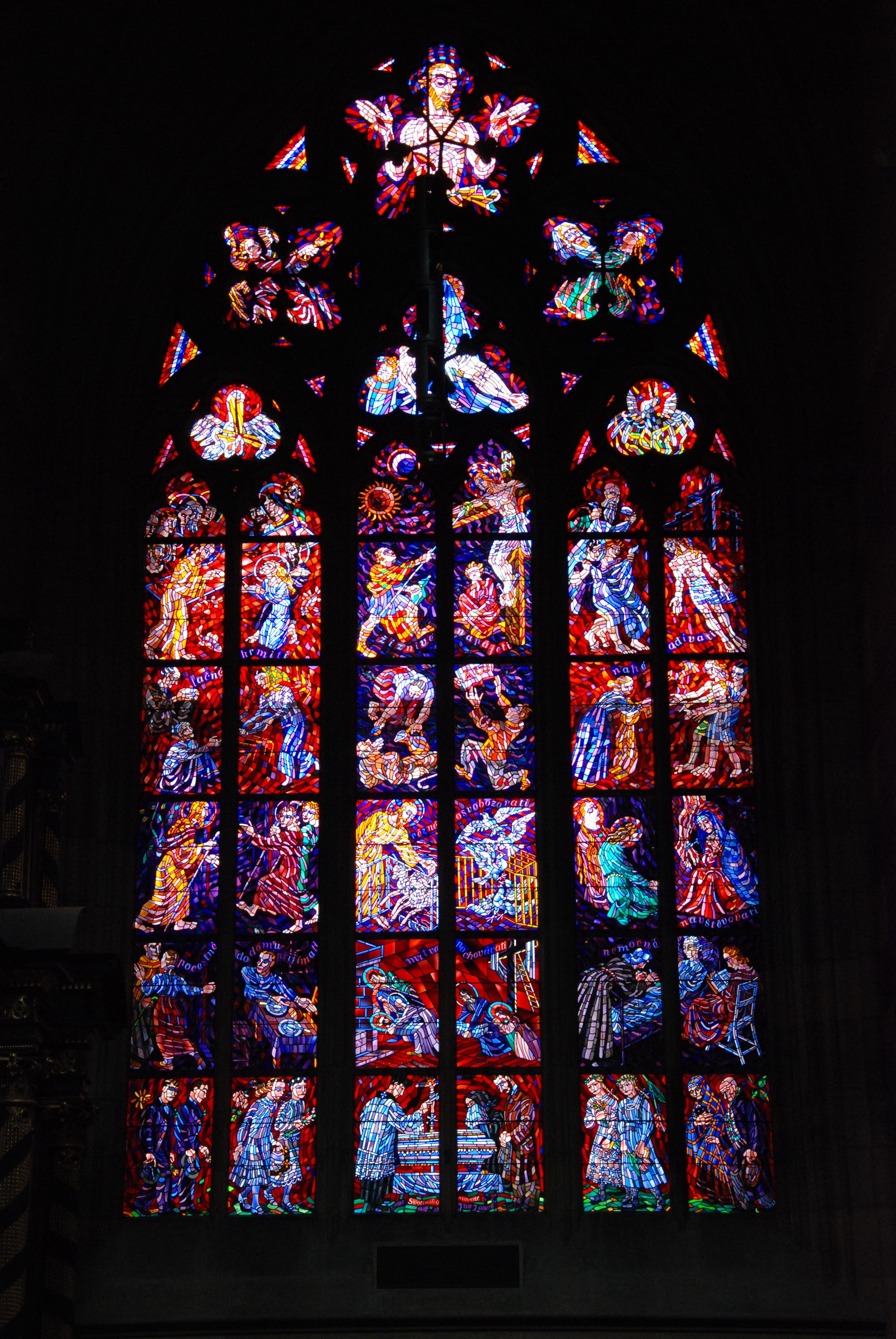 Huge stainedglass window in St Vitus cathedral  cc0photo