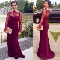 Long Prom Dress, Burgundy Prom Dress, Lace Prom Dress ...
