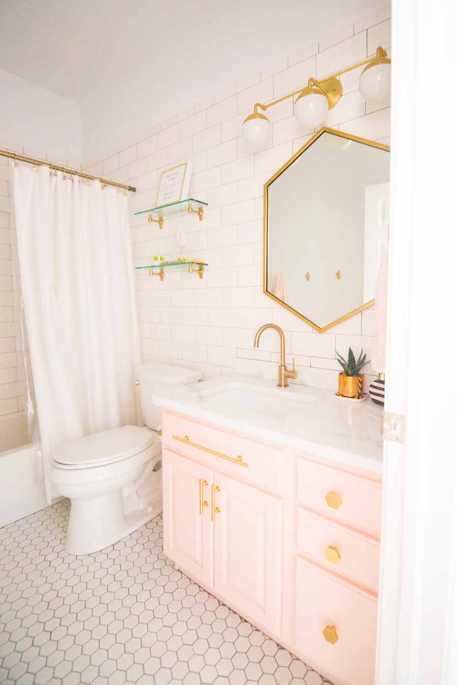 Modern Glam Blush Girls Bathroom Design  CC and MIke  Design Blog