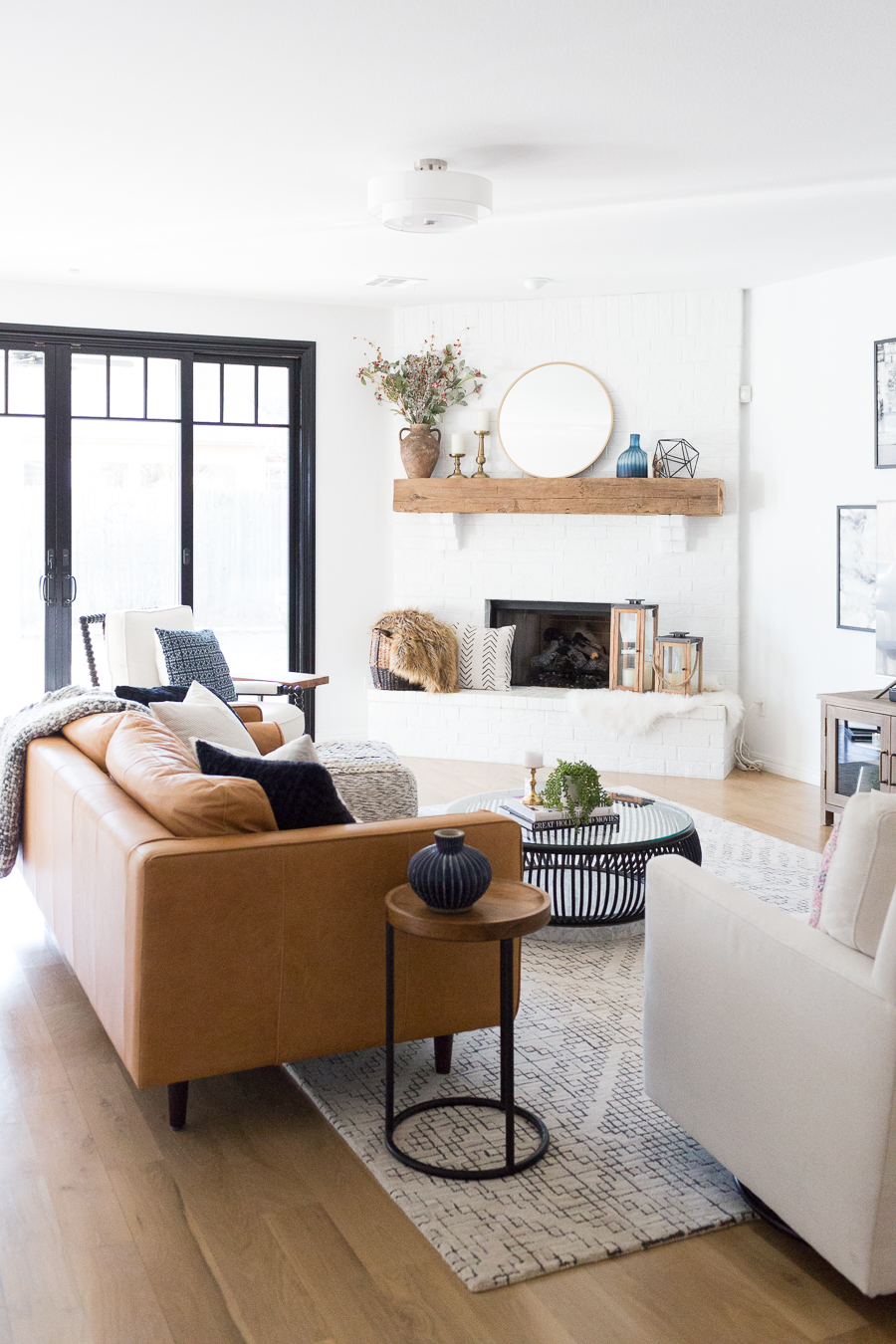 modern white furniture for living room best neutral color walls tulsa remodel reveal farmhouse cc and mike blog with black windows doors