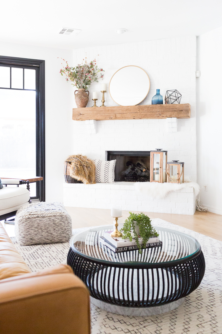 oversized white leather sofa 1 seater painted brick fireplace makeover | cc and mike ...