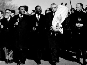 From L to R: Rabbi AJ Heschel, Reverend Martin Luther King Jr., Reverend Ralph Abernathy, Rabbi Maurice Eisendrath, Rabbi Everett Gendler