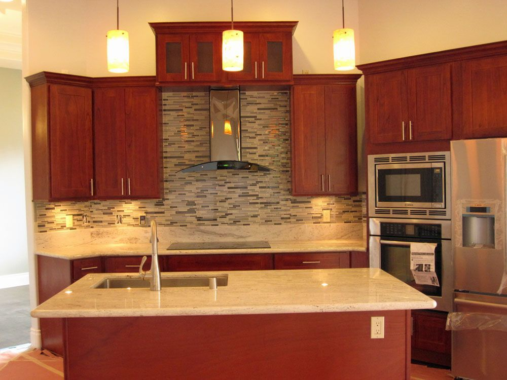Burgundy Cherry  CC Cabinets and Granite