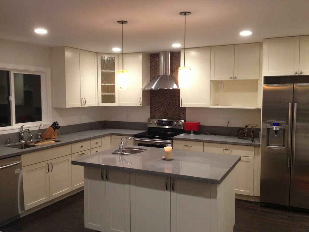 Eggshell White Off White  CC Cabinets and Granite