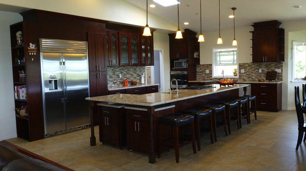 cherry kitchen cabinets modern sink espresso – c&c and granite