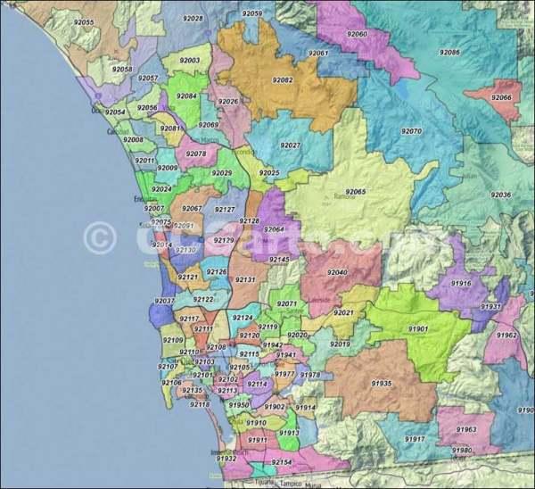 San Diego Zip Codes San Diego County Zip Code Boundary Map