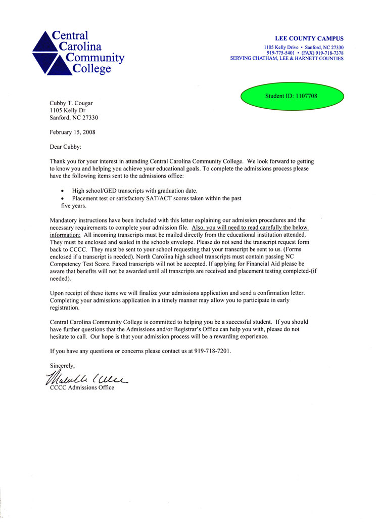 Admission Letter Example