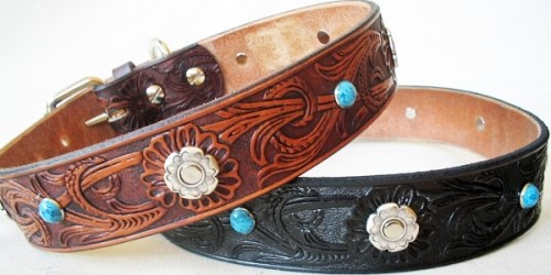 CCC Western Leather Dog Collars - Floral