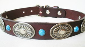 CCC Western Leather Dog Collars - Rope Edge